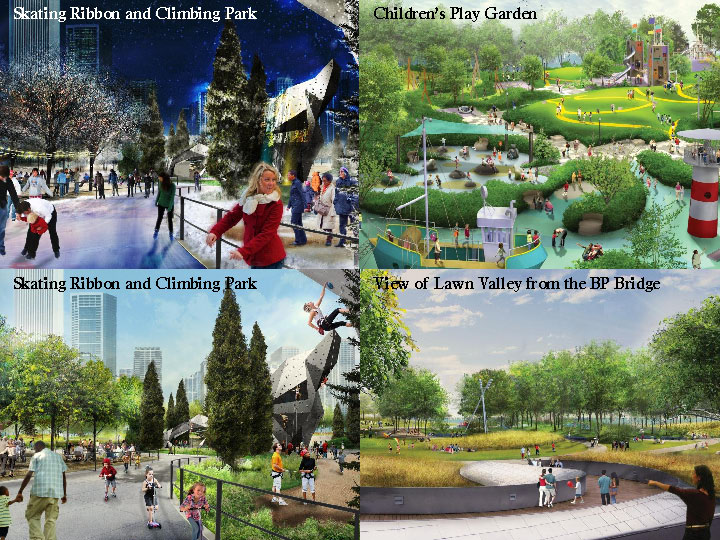 Renderings from the Chicago Park District's Maggie Daley Park Construction web site.