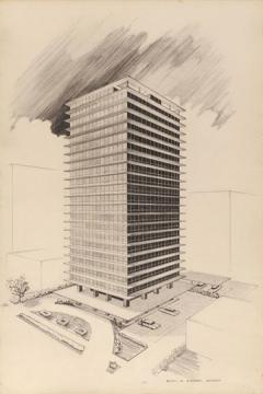 Milton Schwartz. 320 Oakdale Apartment Building, Chicago, Illinois, Perspective Drawing, 1953/54. Gift of Audrey K. Schwartz.