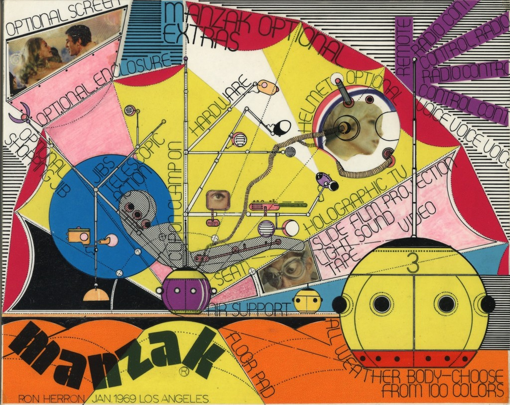 "Ron Herron (Archigram),      ""Manzak Optional Extras,"" 1969. Collage, ink, letrafilm on mountboard. Copyright Ron Herron (Archigram). Courtesy of Simon Herron."