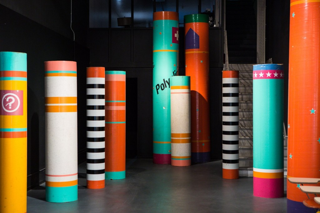 """Colorful pillars,      or """"sonotubes,     """"served as temporary wayfinding at the 1984 Summer Olympics. Photo: Laure Joliet Photography"""