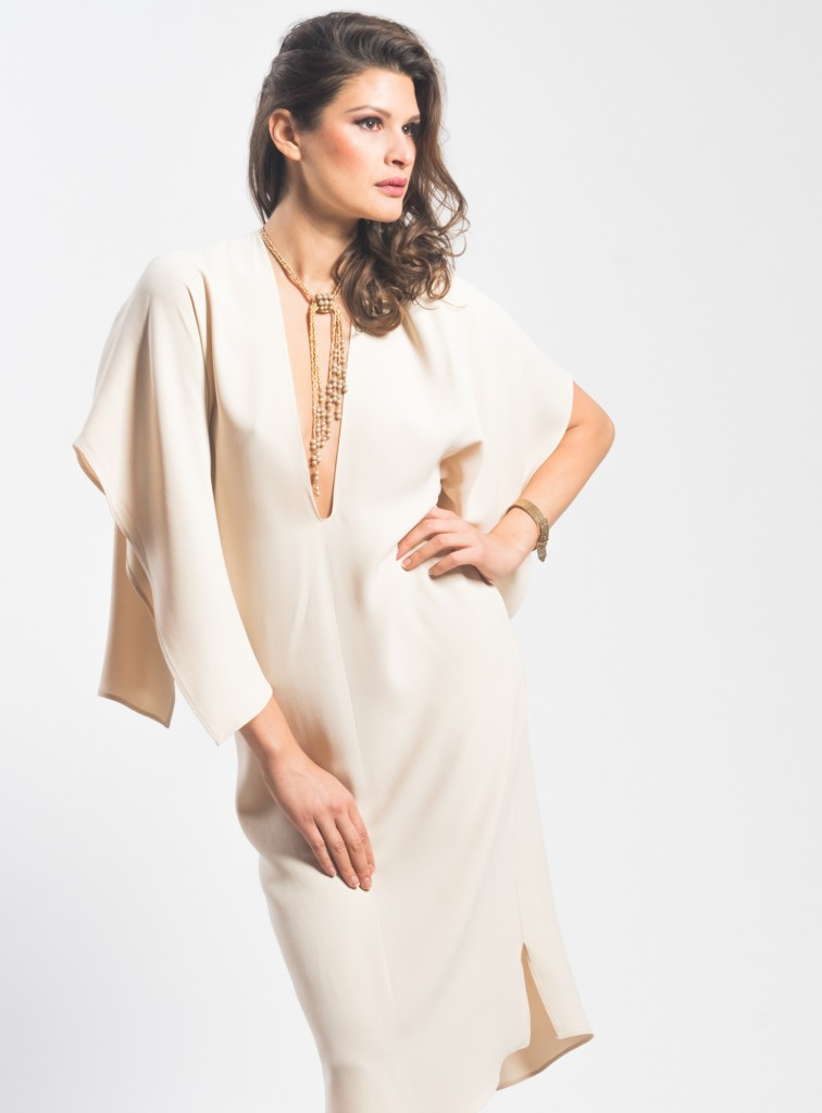 cream cape sleeve dress slide