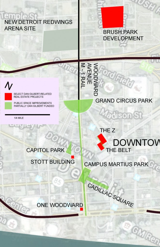 A map showing the scale of Dan Gilbert's recent investments in downtown Detroit.