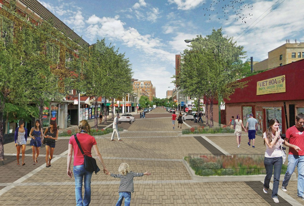 A rendering of Argyle as a shared street/Courtesy CDOT.