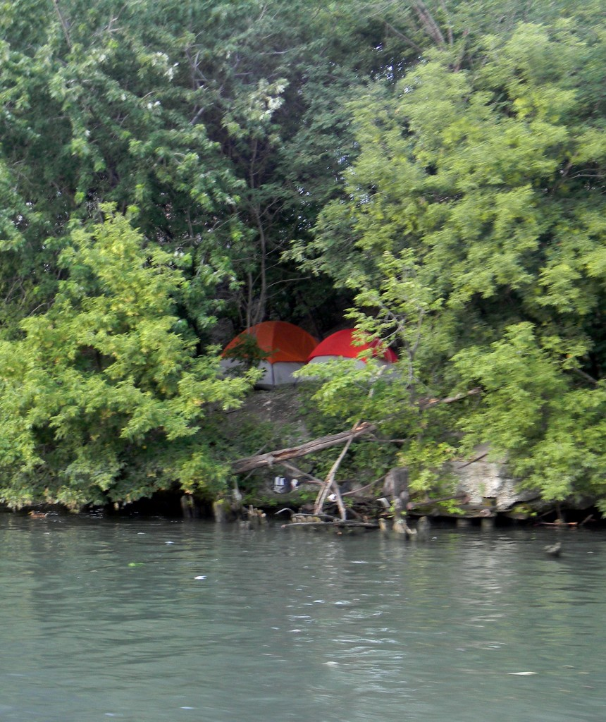 Tents on the shores of the South Branch of the Chicago River