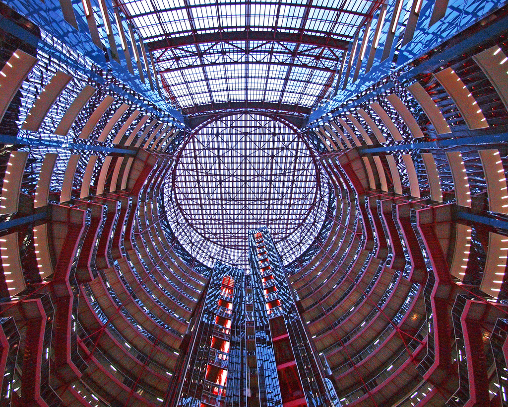 Thompson Center ceiling and hallways seen from the atrium below.