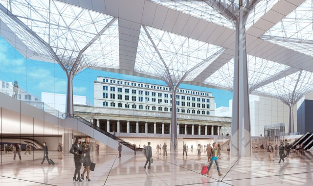 """Could this be the """"new"""" Union Station? Rendering via Midwest High Speed Rail Association ."""