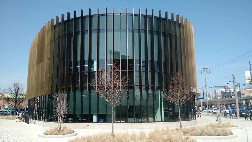 The exterior of SOM's Chinatown Public Library