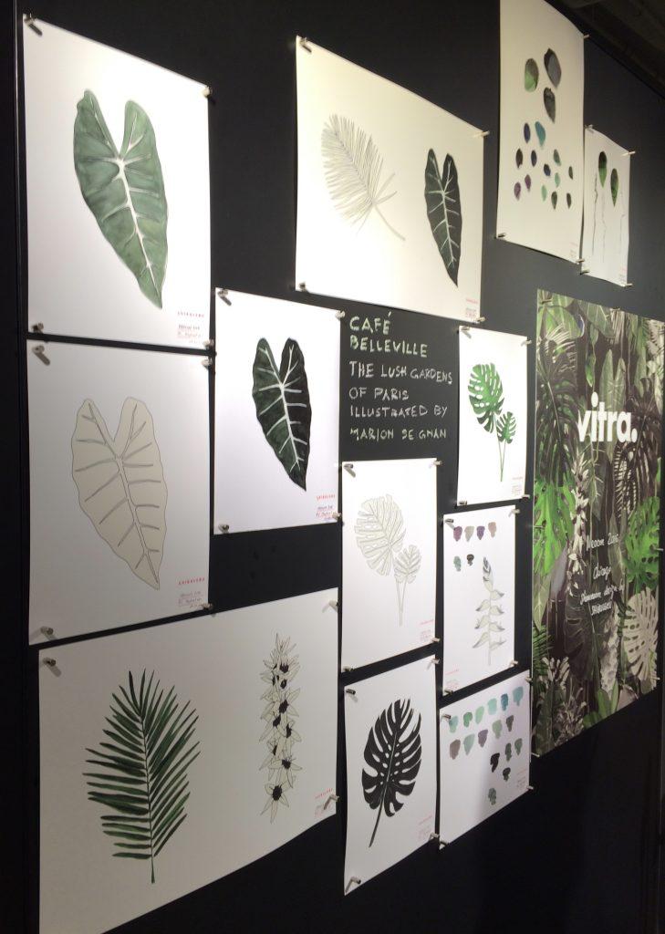 Concept illustrations for Vitra explore lush garden palettes.