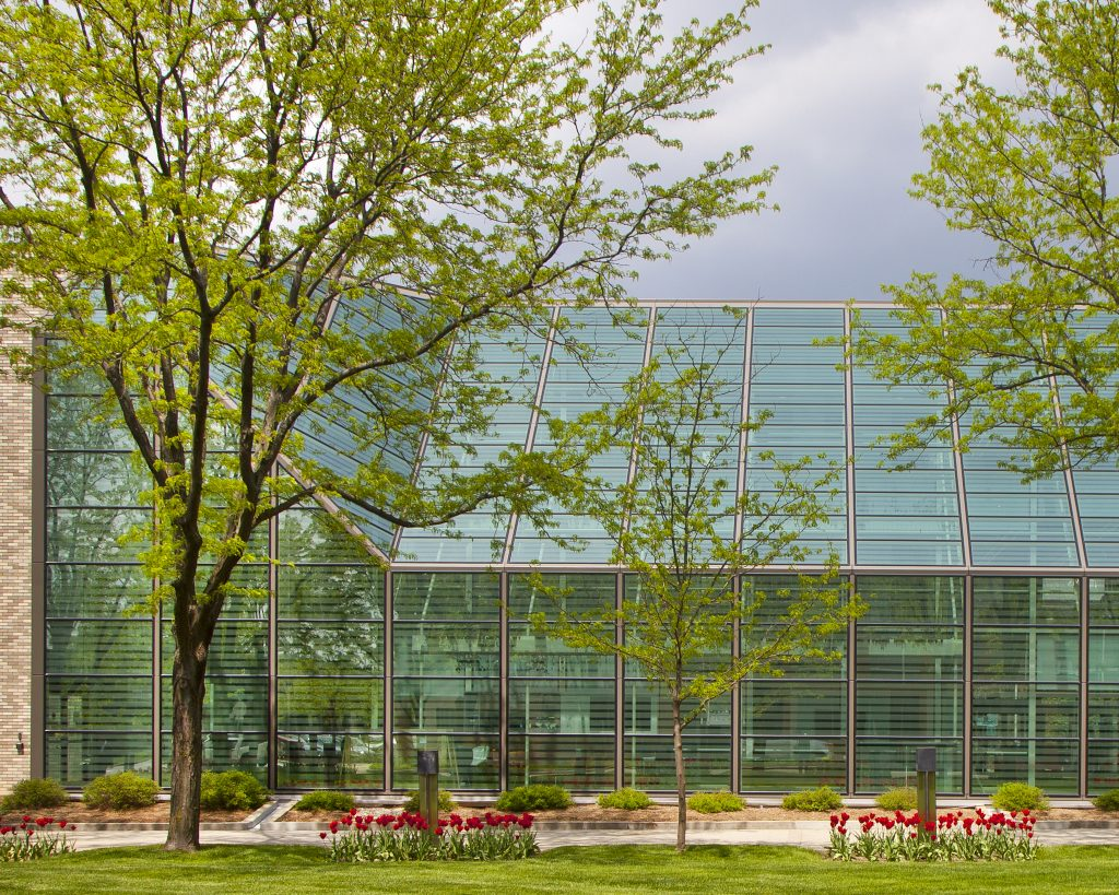 A glassy green exterior of a building with trees and flowers outside.