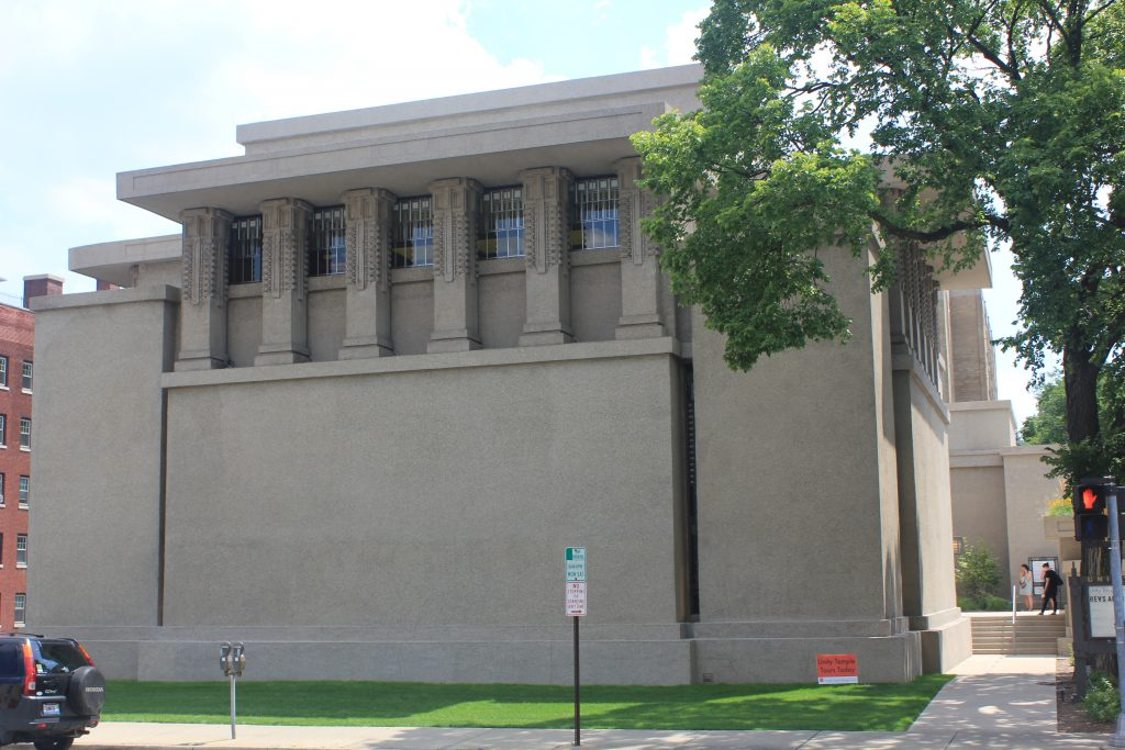 Oak Park, Unity Temple with ornate columns above blank wall