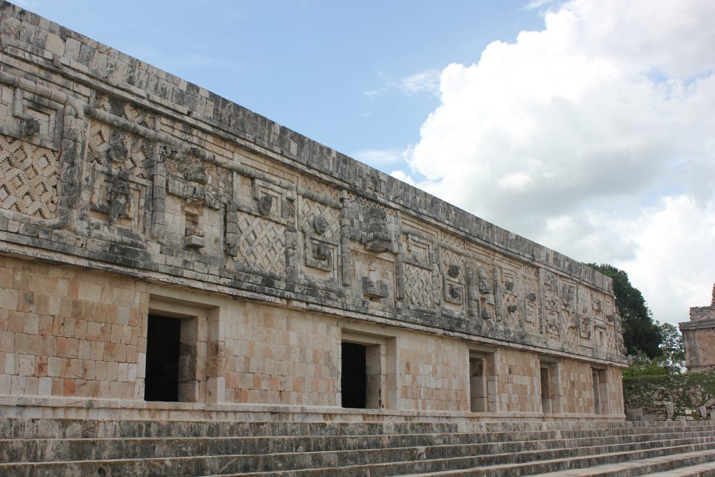 Uxmal, Nunnery facade with ornate Mayan stone work