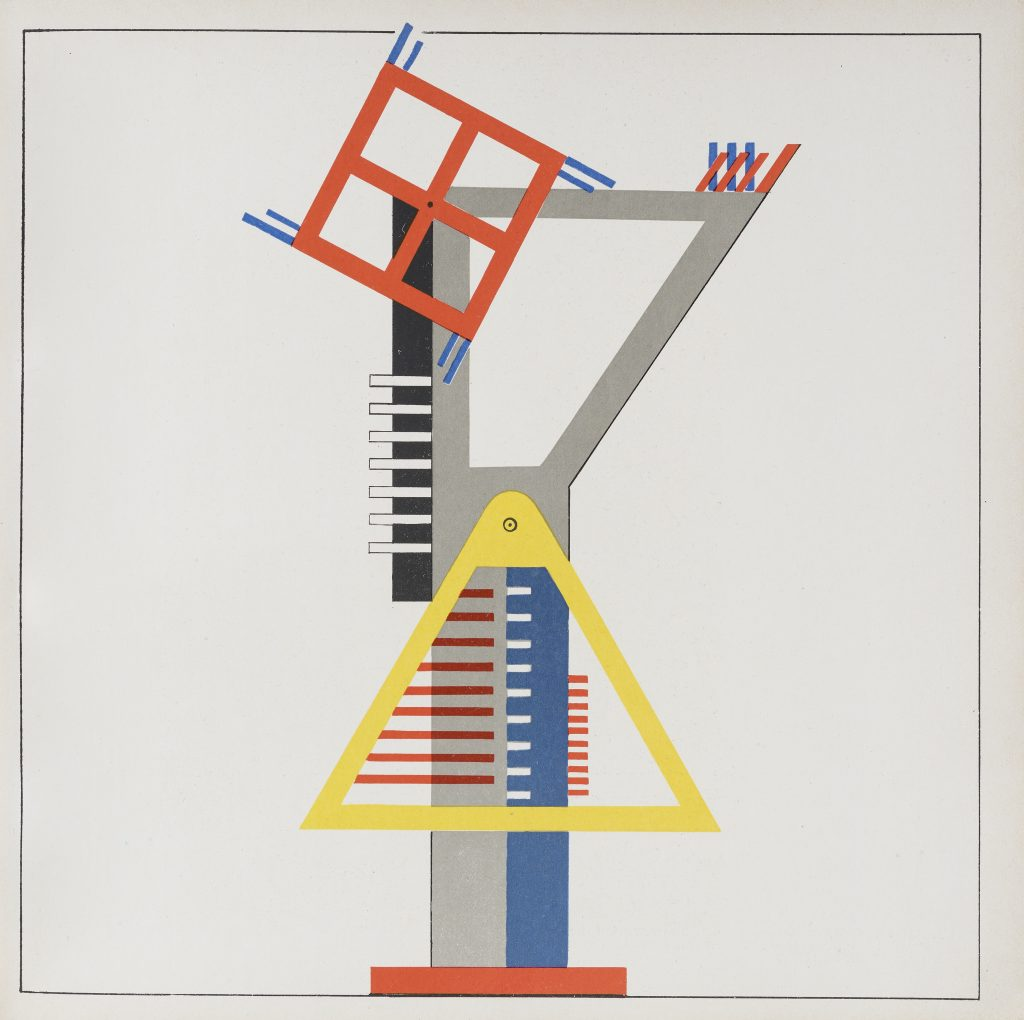 Image of mechanical device constructed of triangles and squares layered over each other with squares, all in bright colors. Kurt Schmidt, Construction for fireworks