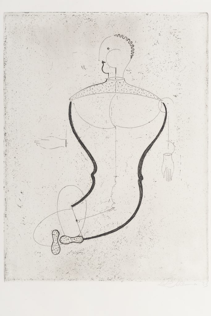 Abstract drawing of man seated with one hand drawn out