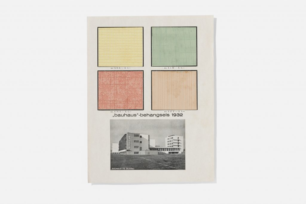 Two rows of two squares each in yellow, green, red, and orange, above a photo of a Bauhaus building