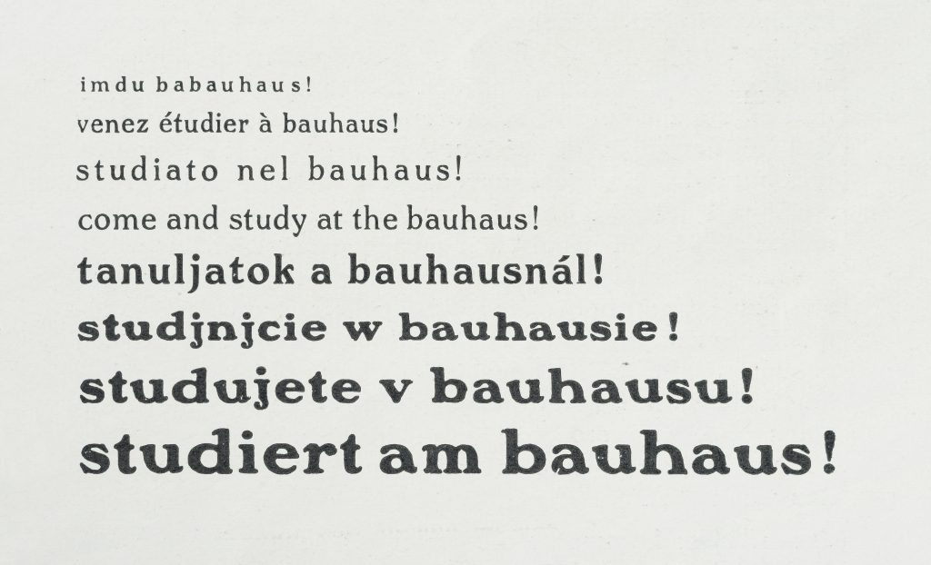 """The words """"study at the bauhaus!"""" in multiple languages with each row increasing in size"""