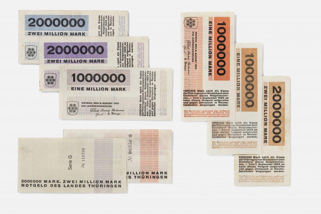 Images of currency in various amounts with blue, purple, orange details - zwei million mark, eine million mark