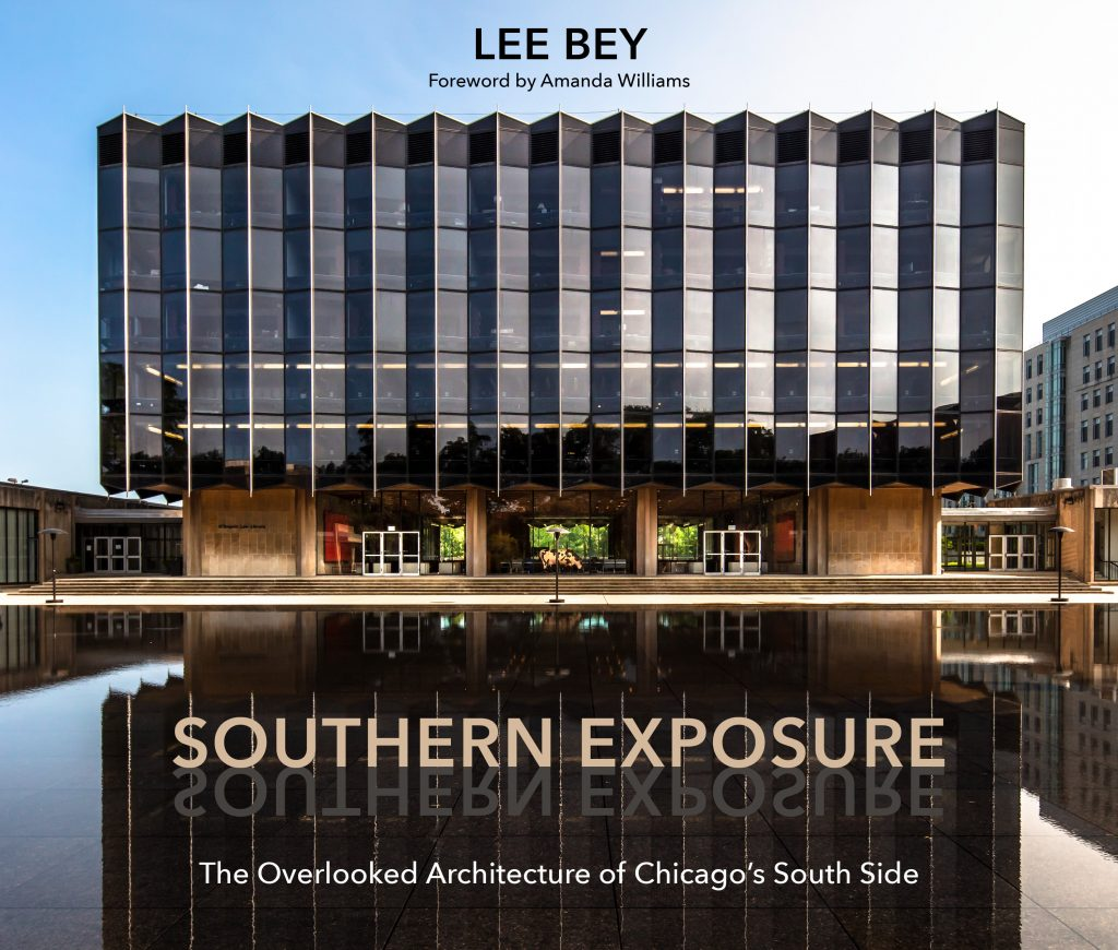 Cover of  Southern Exposure book by Lee Bey with mid-rise black glass building in front of reflective stone