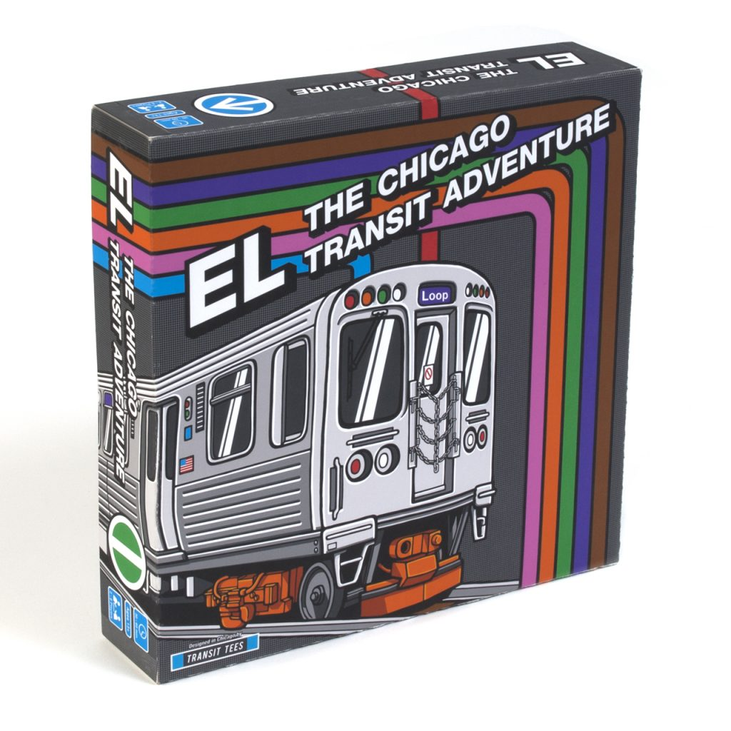El board game packaging with train photo on front.