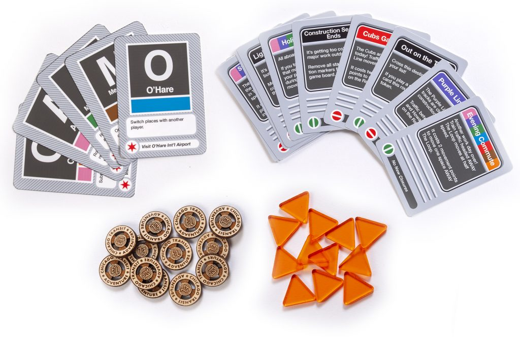 Playing cards and tokens from CTA board game.