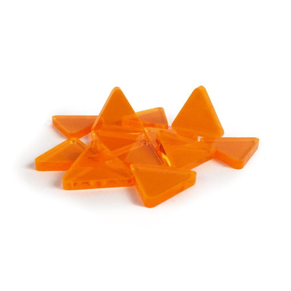 Orange plastic triangle tokens from El board game.