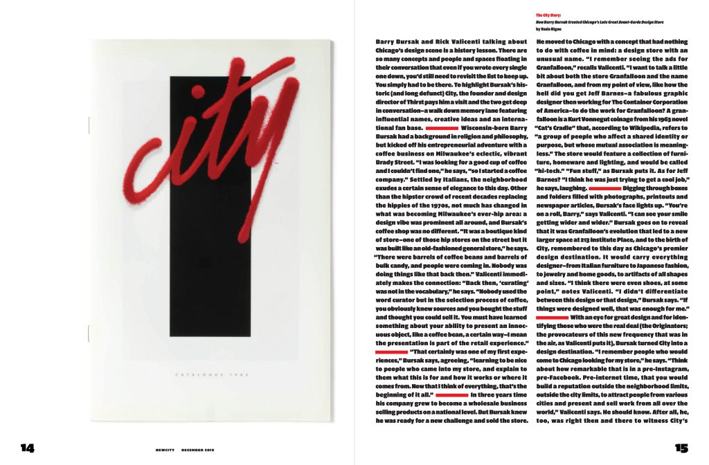 Spread of magazine, lefthand page shows the word 'city' in red italic type over a black rectangle, while the righthand page shows two columns of black text on a white background.