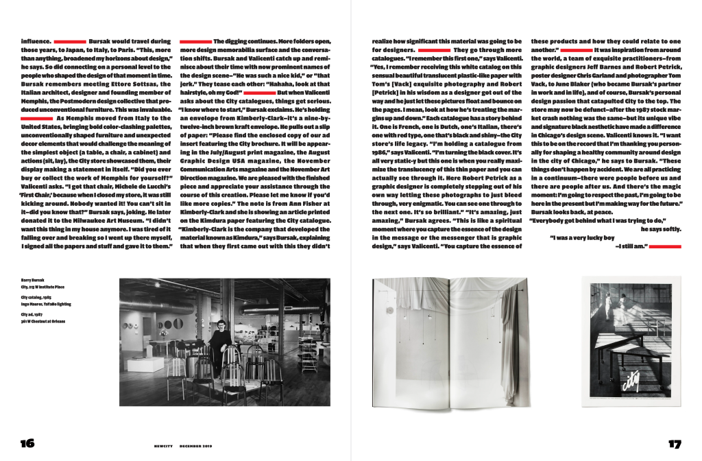 A spread of a magazine, both pages with two columns of text over black-and-white photos of the City design store.