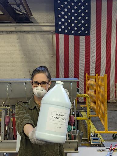 Co-founder and president Dr. Sonat Birnecker Hart during hand sanitizer production