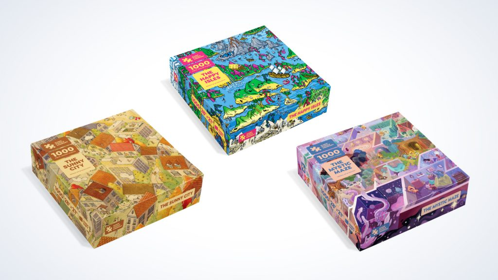 Three puzzle boxes face up displaying puzzle images