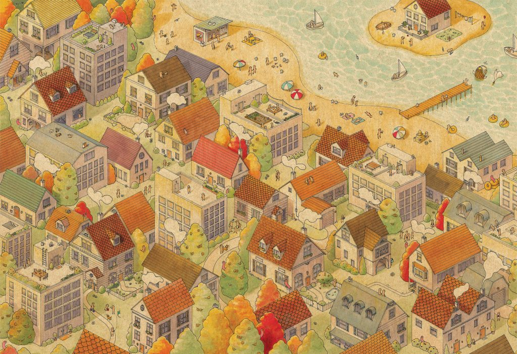 Puzzle illustration showing seaside village in fall colors