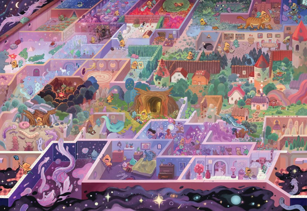Puzzle illustration showing village with boxed in areas floating in space